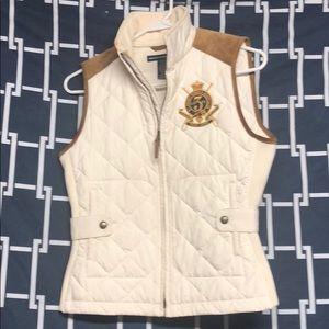 white and tan ralph lauren vest